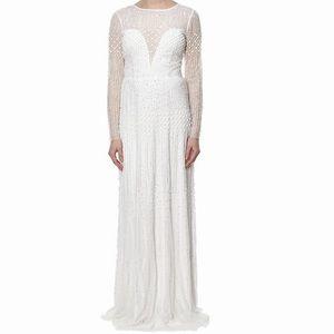 NWT Adrianna Papell White beaded longsleeves dress